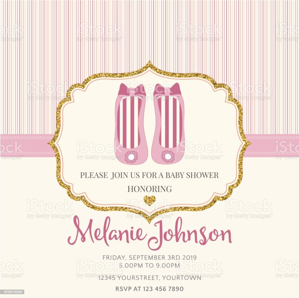 Baby Shower Card Template | Lovely Baby Shower Card Template With Golden Glittering Details
