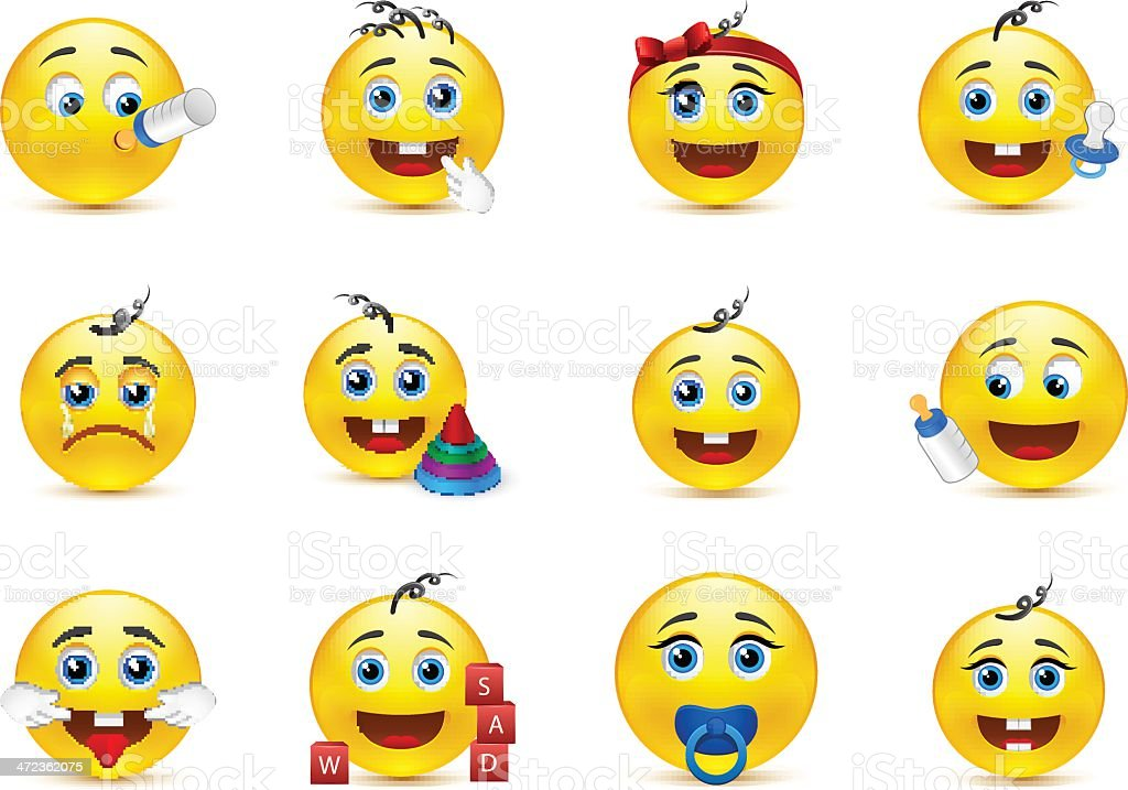 lovely baby smileys set with nursery elements royalty-free stock vector art