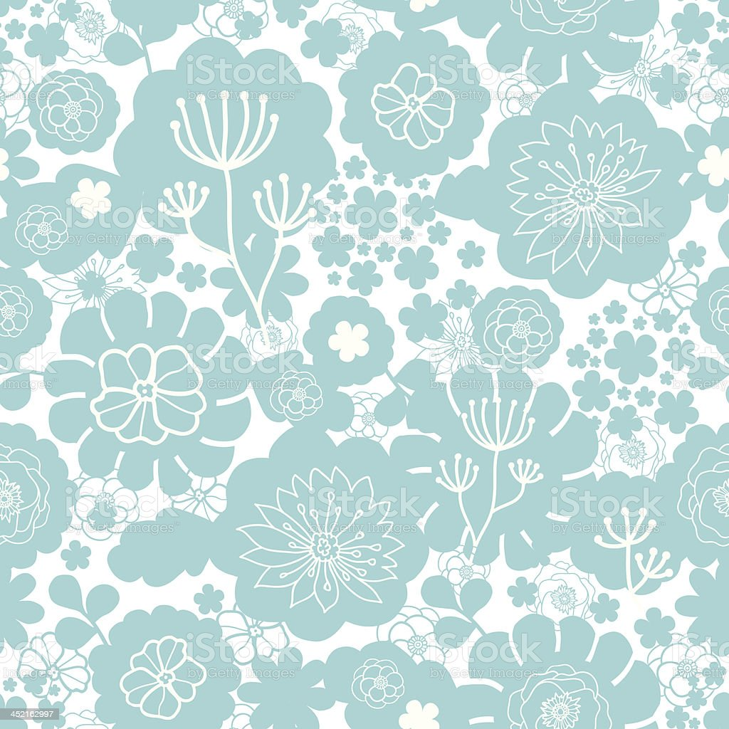 Lovely blue florals silhouettes seamless pattern background royalty-free stock vector art