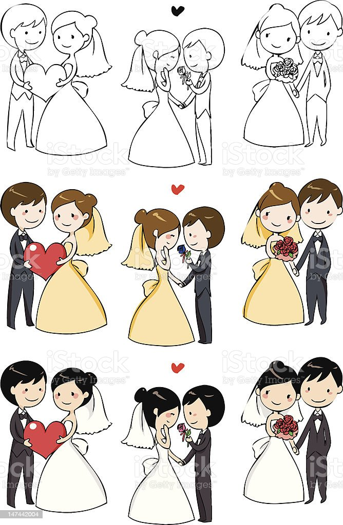 lovely bride and groom royalty-free stock vector art