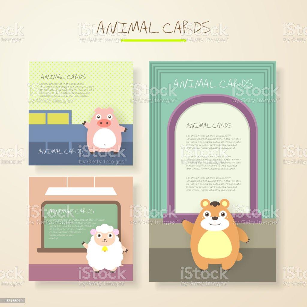 lovely cartoon animal characters cards vector art illustration
