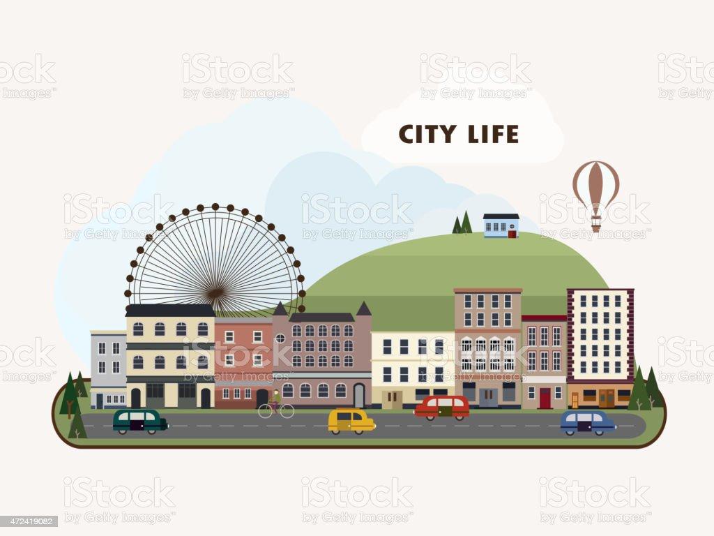 lovely city landscape in flat design vector art illustration