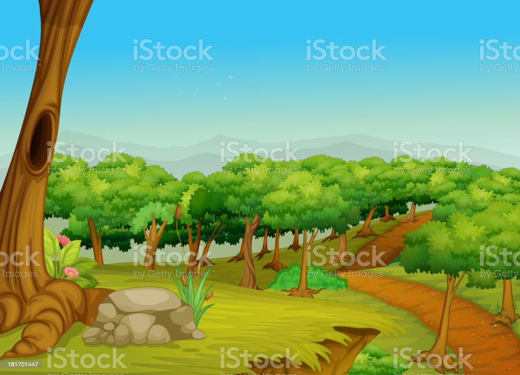 Lovely forest path royalty-free stock vector art