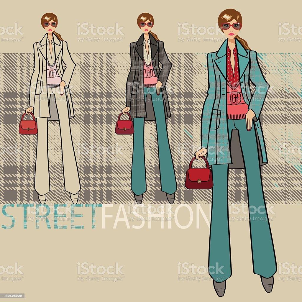 Lovely girl in blue coat.Options ensemble.Fashion Illustration vector art illustration