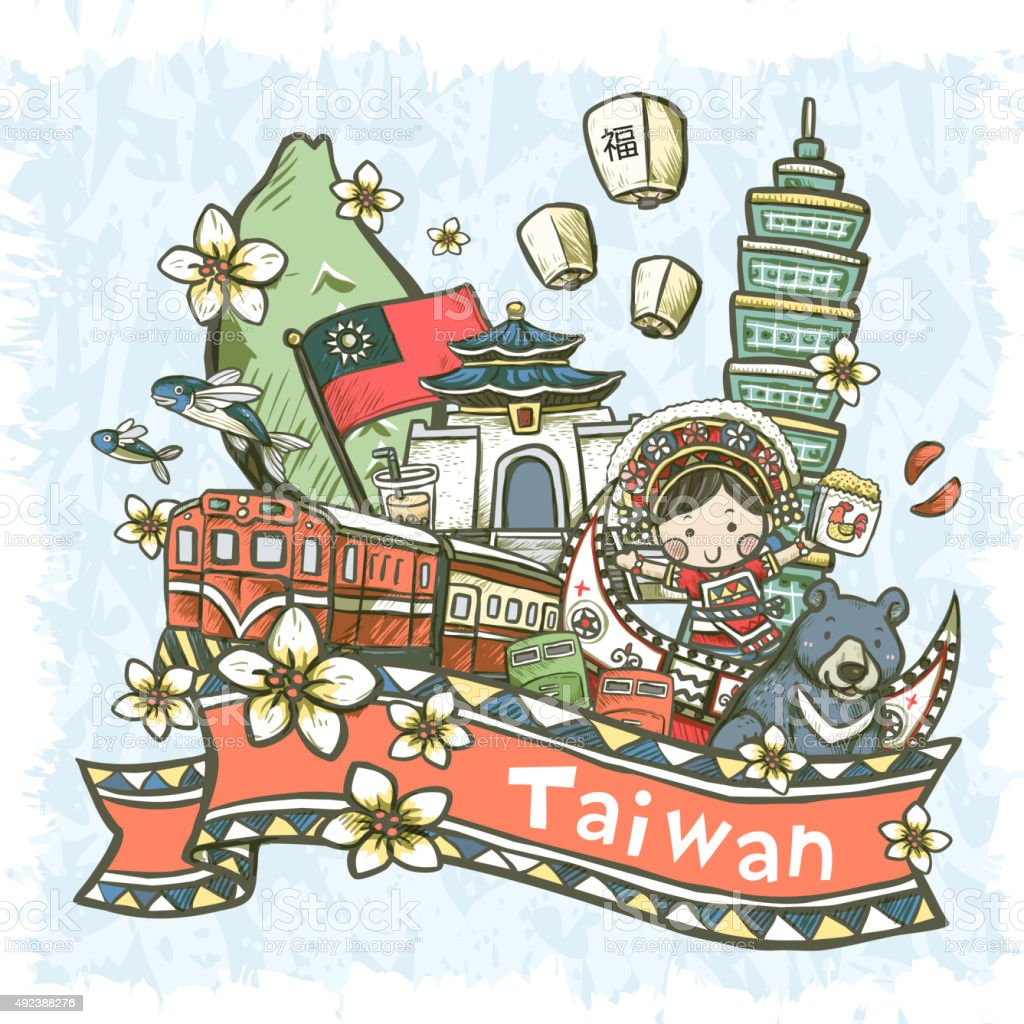 lovely hand drawn style Taiwan specialties and attractions vector art illustration