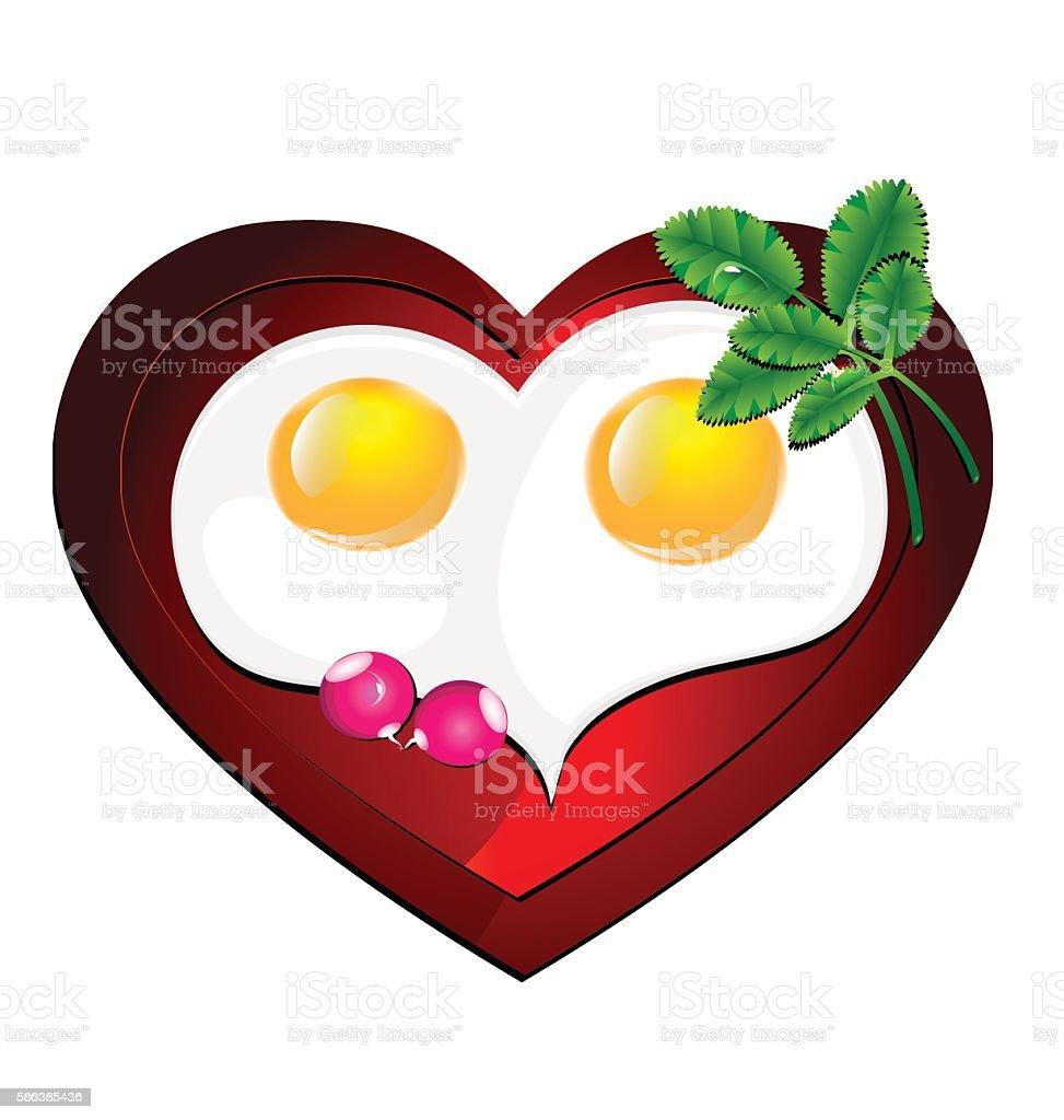 lovely heart omelette vector art illustration