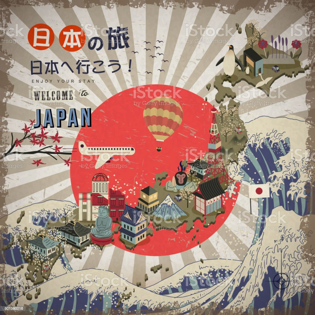 lovely Japan travel map vector art illustration