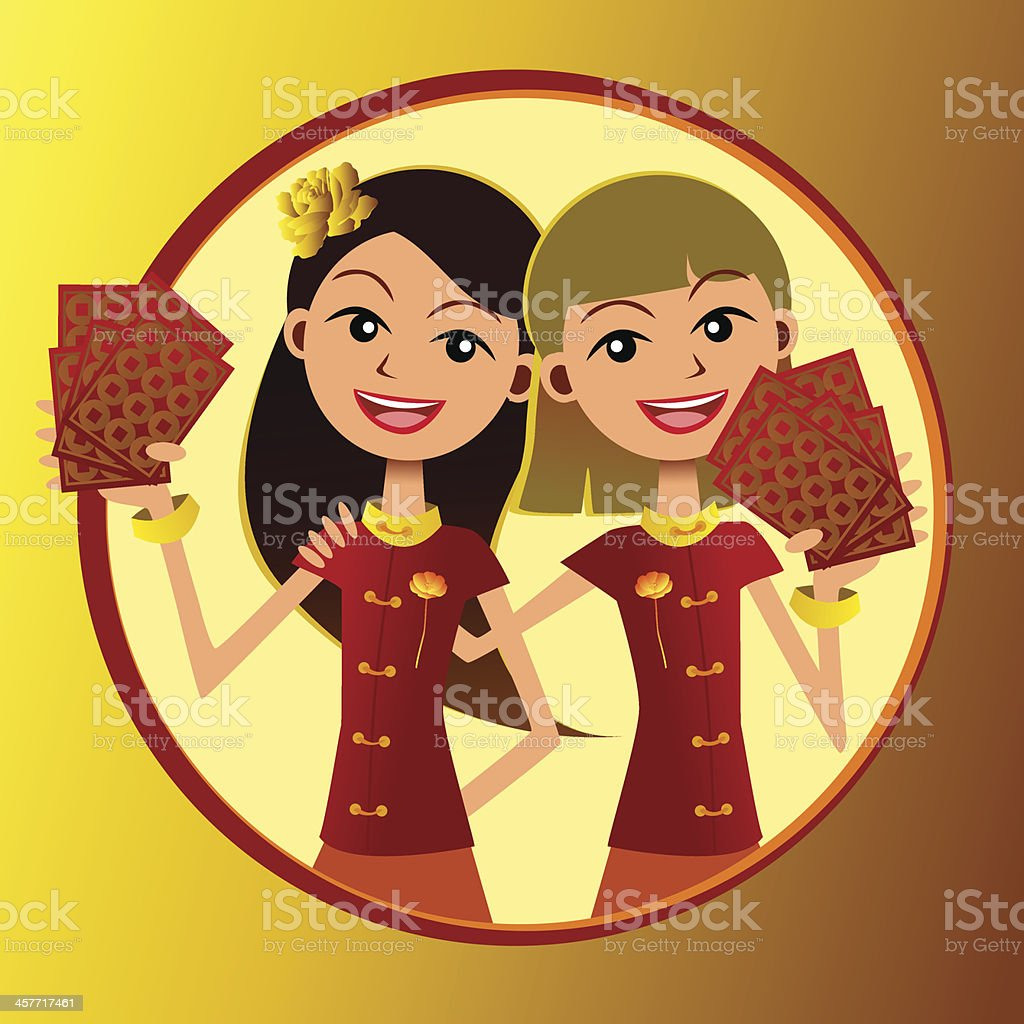 Lovely ladies with red pockets on hand vector art illustration