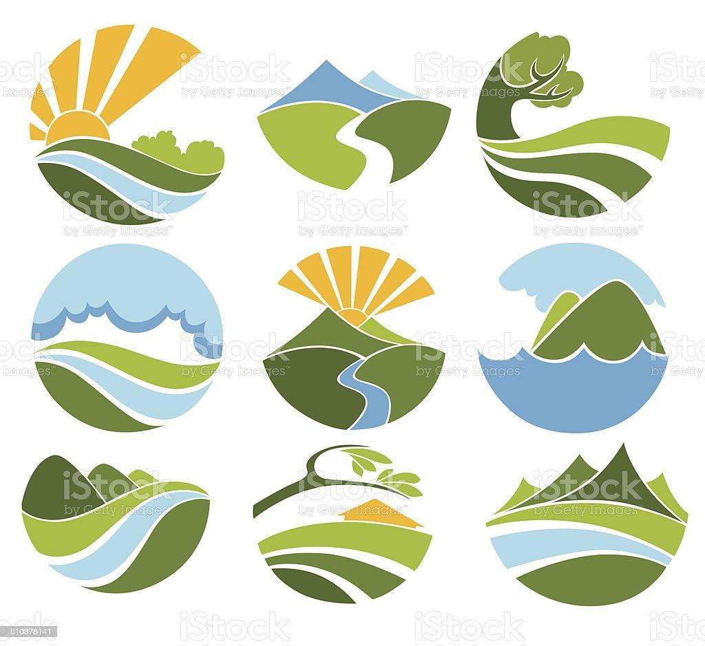 lovely landscape vector art illustration