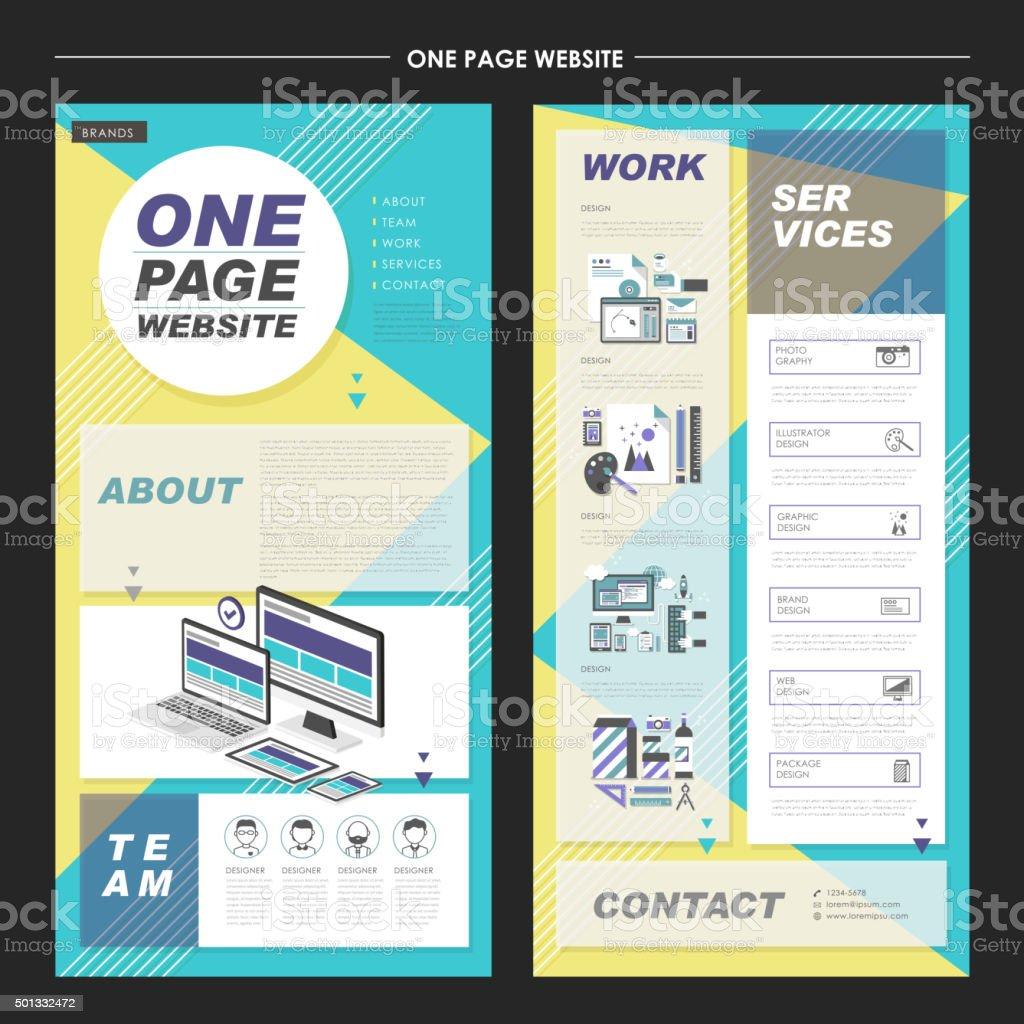 lovely one page website template design vector art illustration