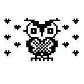 Lovely owl and hearts. bird pixel art template.