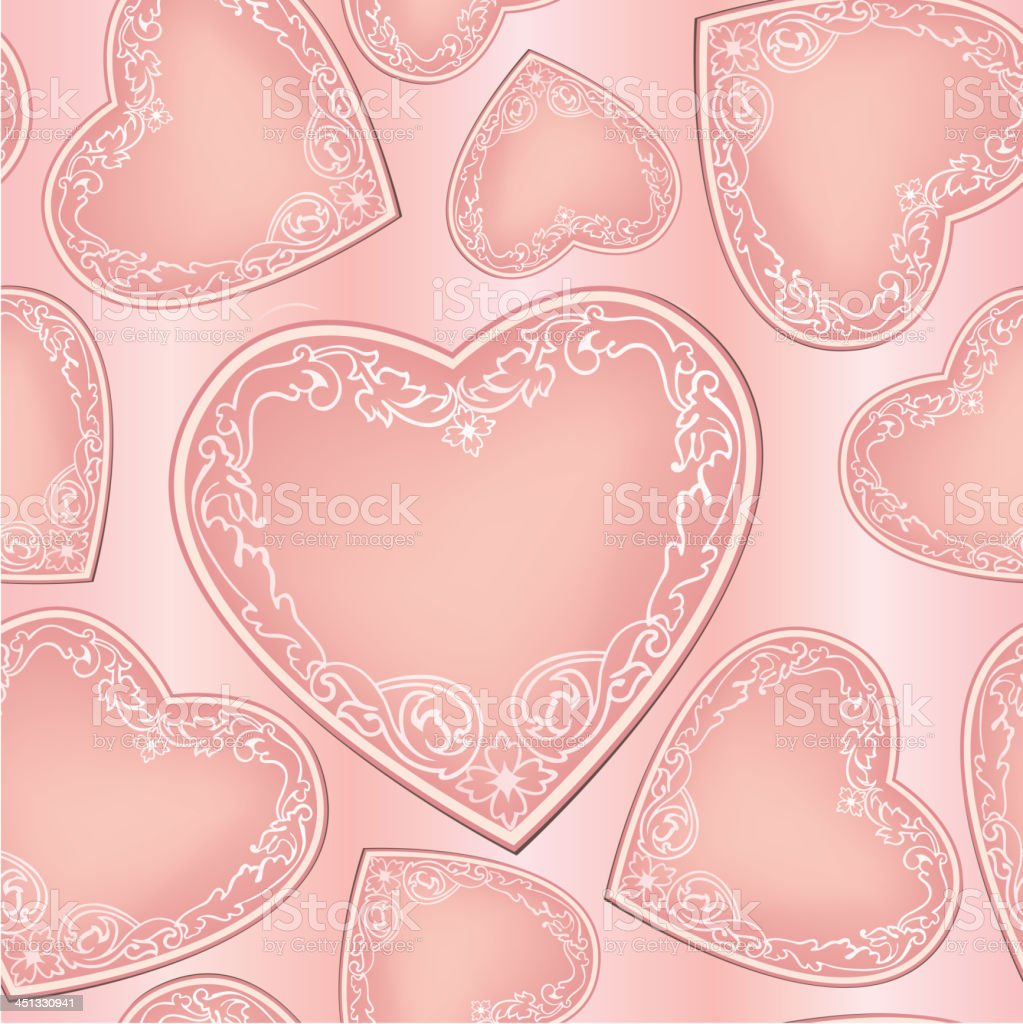 Lovely pink seamless pattern with vintage heart shapes royalty-free stock vector art