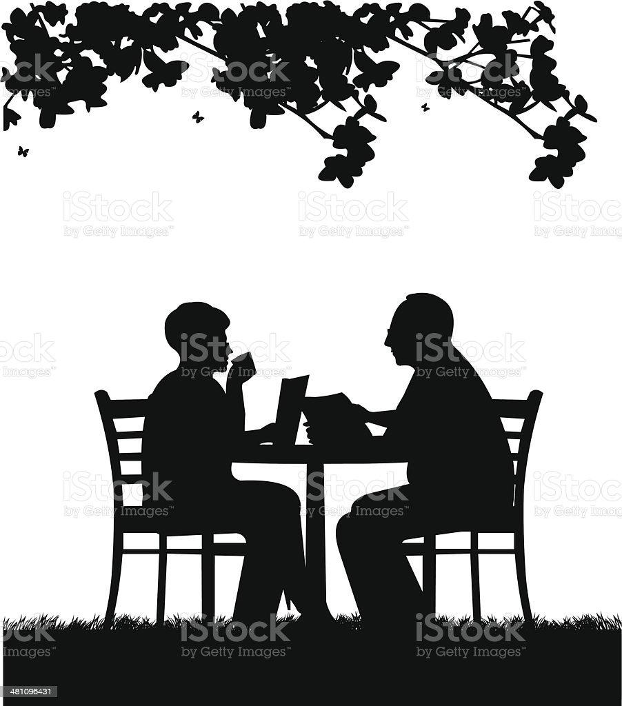 Lovely retired elderly couple reading a newspaper in garden vector art illustration