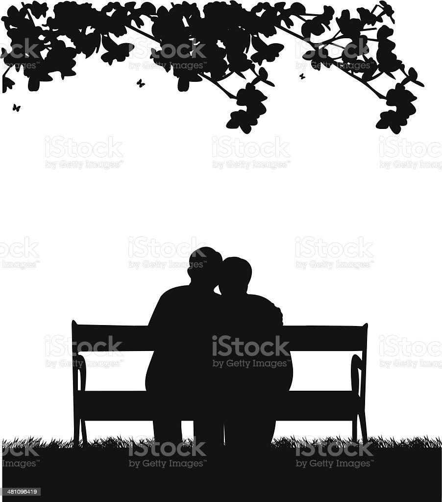 Lovely retired elderly couple sitting on bench in garden vector art illustration