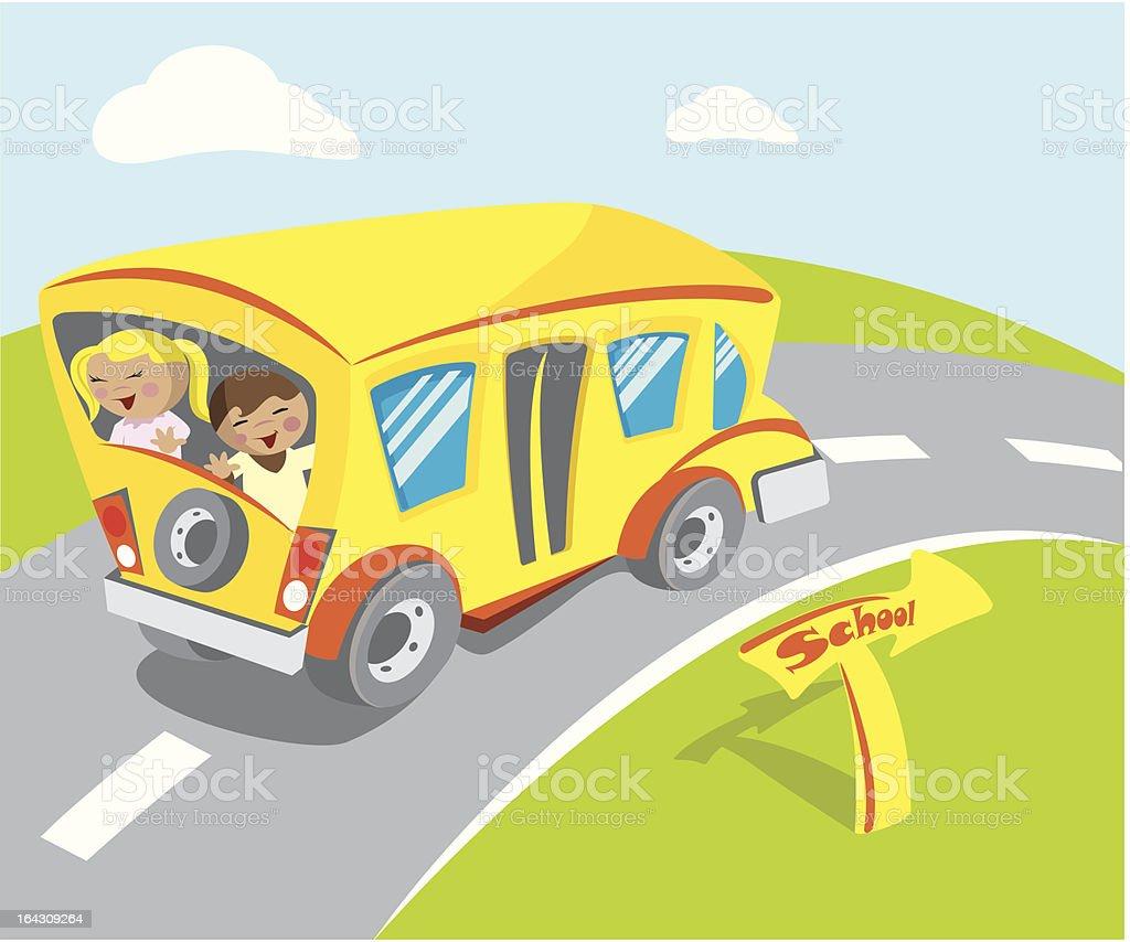 Lovely School bus vector art illustration