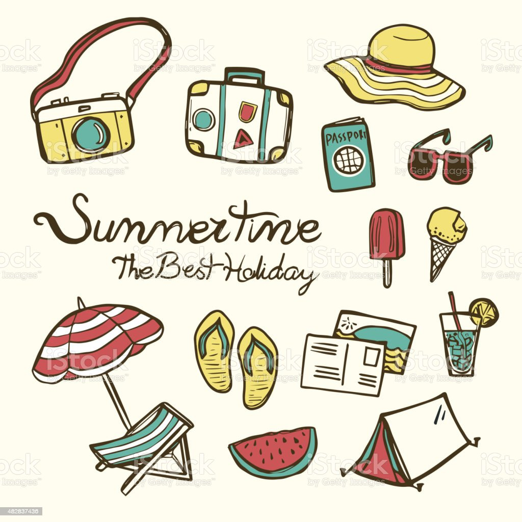 lovely summertime essentials vector art illustration