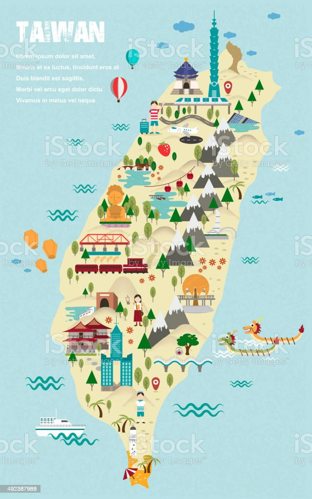 lovely Taiwan travel map vector art illustration