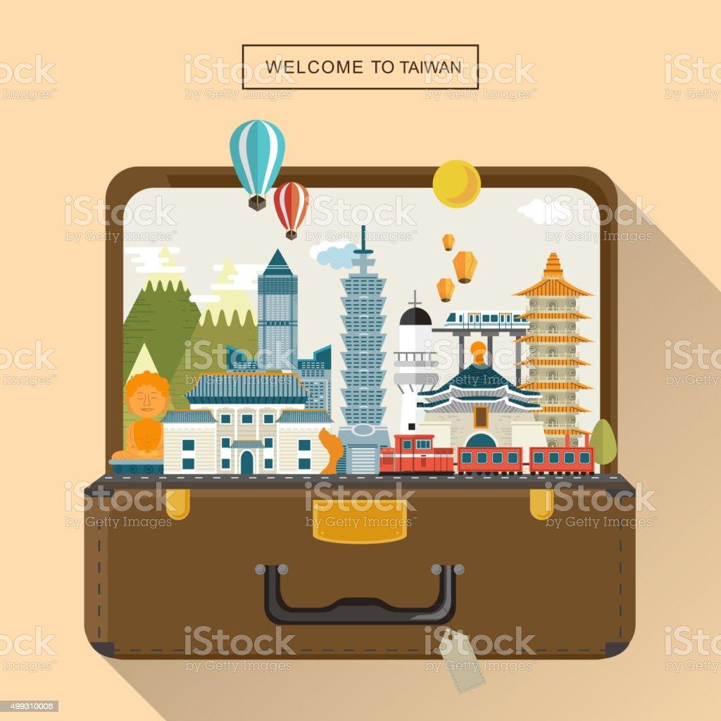 lovely Taiwan travel poster vector art illustration