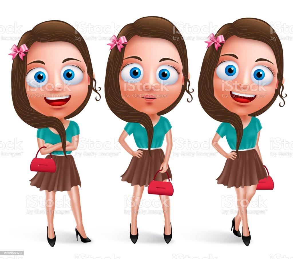 Lovely teen girl vector characters for fashion holding handbag vector art illustration