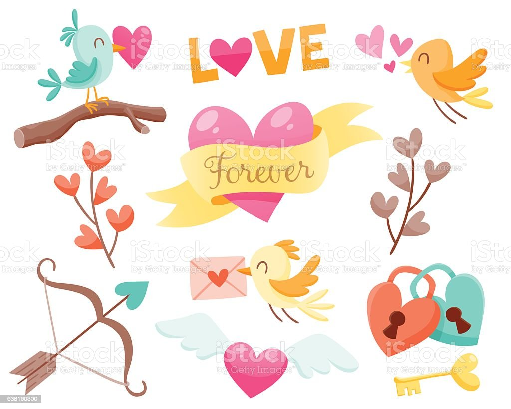 Lovely Valentine day elements vector art illustration