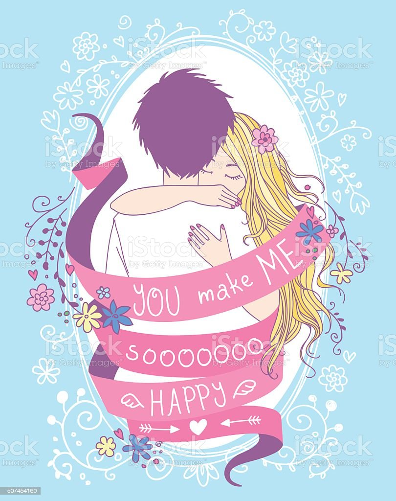 Lovely Valentine's Day greeting card. vector art illustration