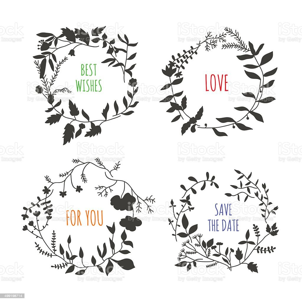 Lovely vector floral wreaths on white background vector art illustration