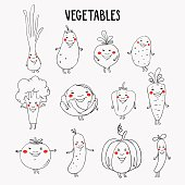 Lovely vegetables vector set with white background