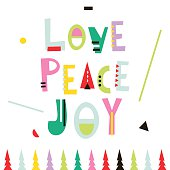 Love,peace,joy. Christmas greeting background.