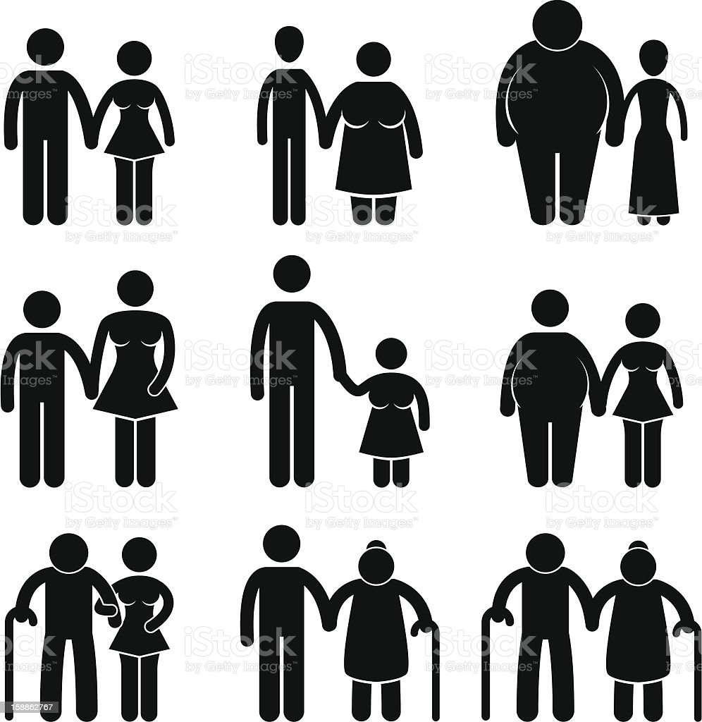 Lover Couple Combination Pictogram royalty-free stock vector art