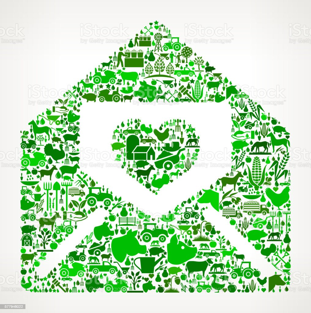 Lover Letter in Envelope Farming and Agriculture Green Icon Pattern vector art illustration