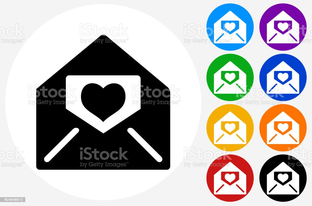 Lover Letter in Envelope Icon on Flat Color Circle Buttons vector art illustration