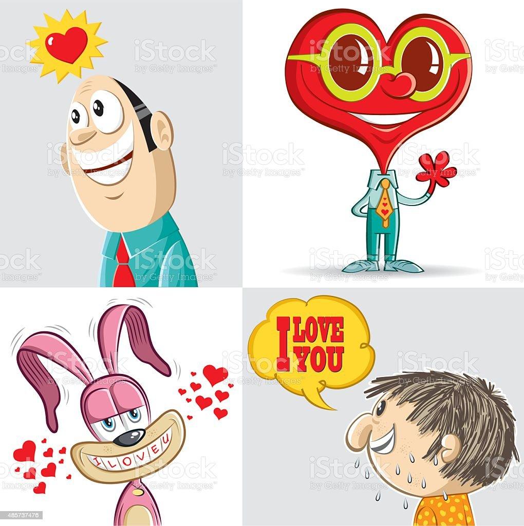 lover set vector art illustration