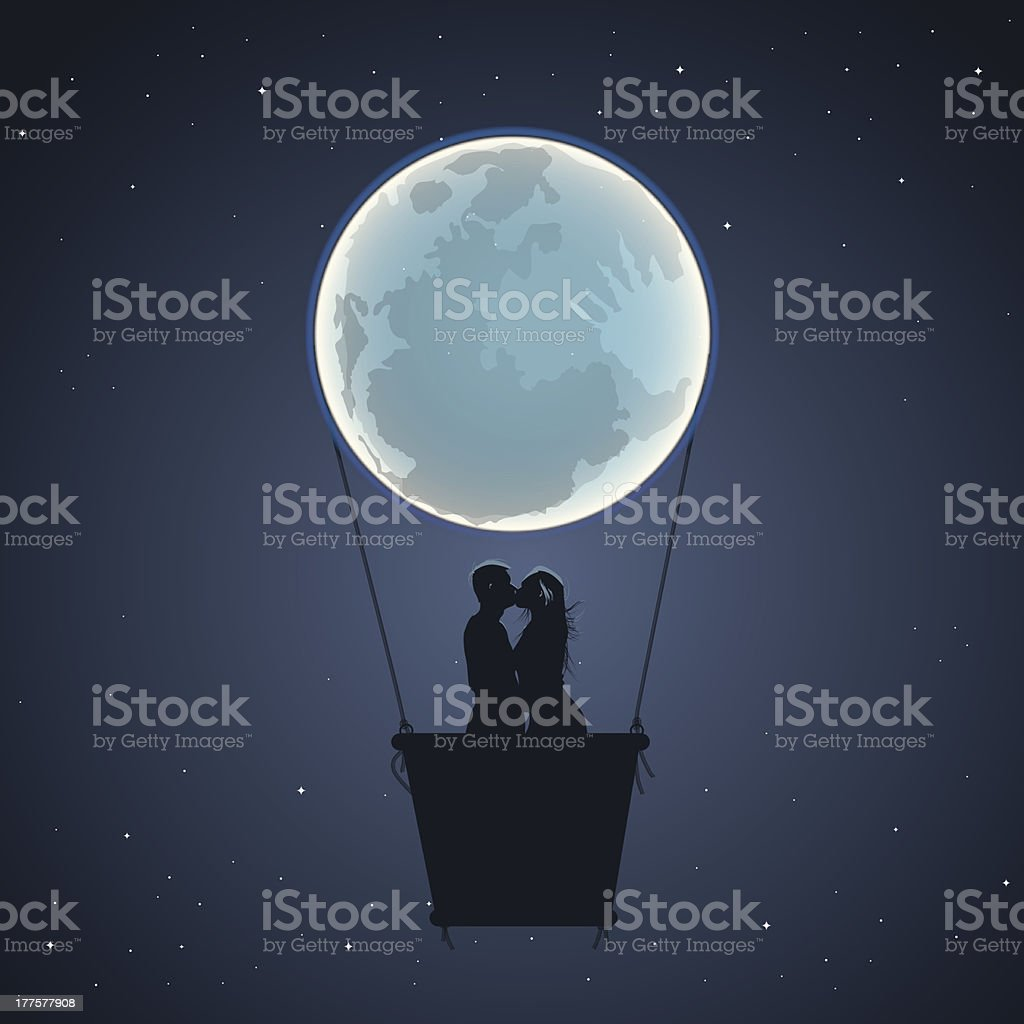Lovers by hot air balloon in moon form royalty-free stock vector art