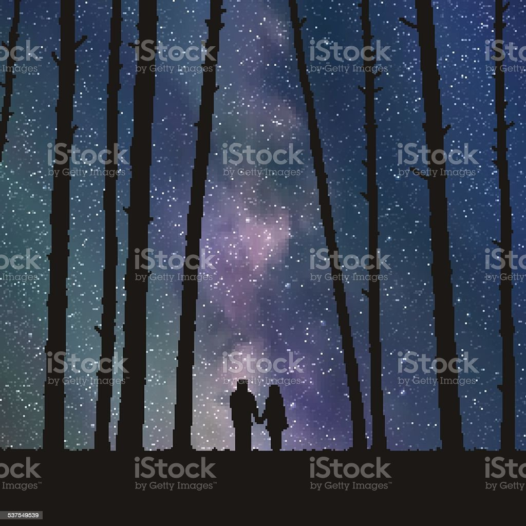 Lovers in forest vector art illustration