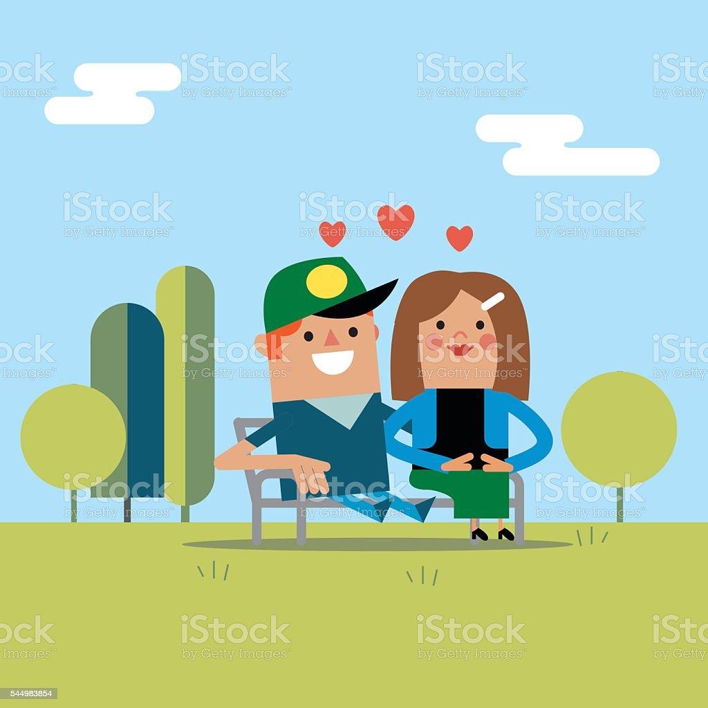 Lovers in the park vector art illustration