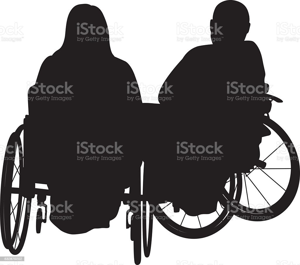 Lovers In Wheelchairs vector art illustration