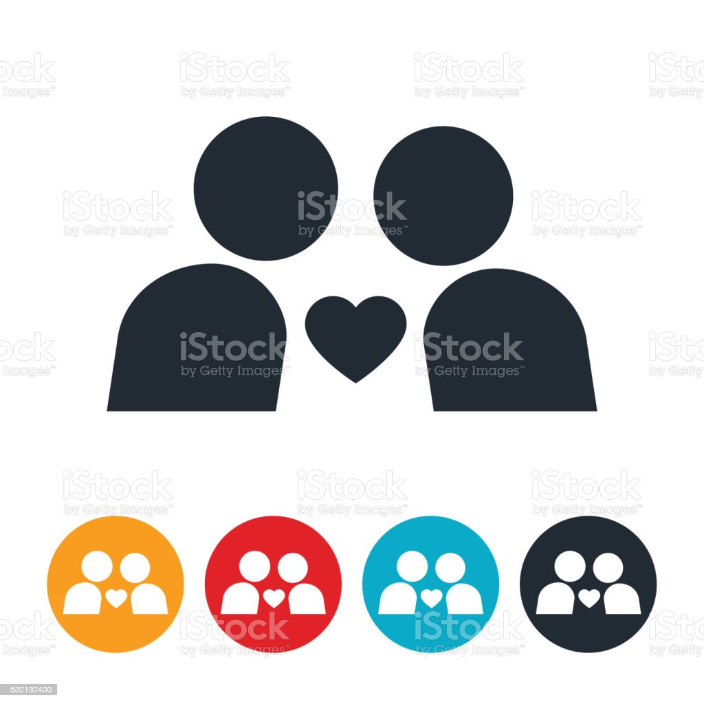Lovers Lean In Icon vector art illustration