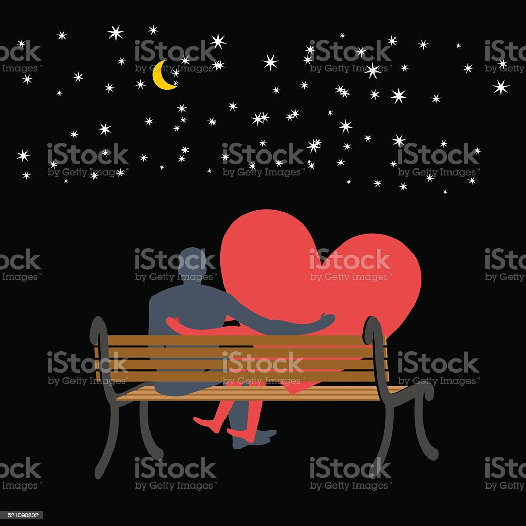 Lovers looking at stars. Date night. Man and love sitting vector art illustration