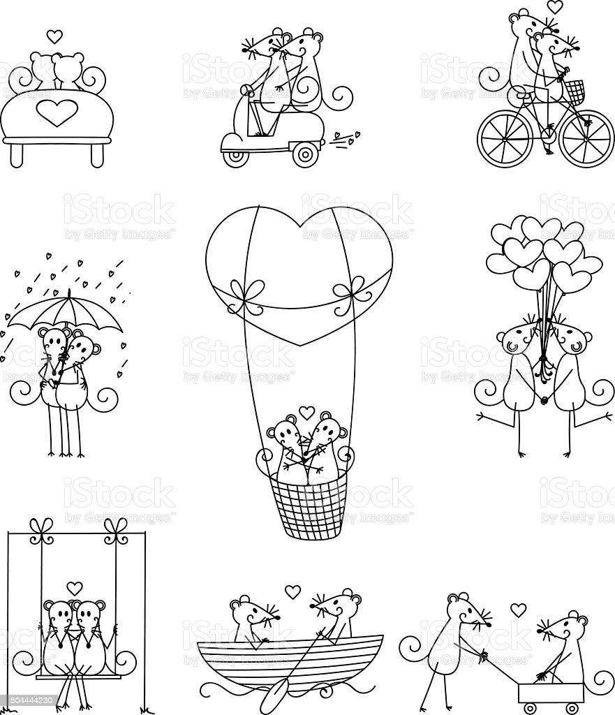 Lovers mouse set 2 vector art illustration