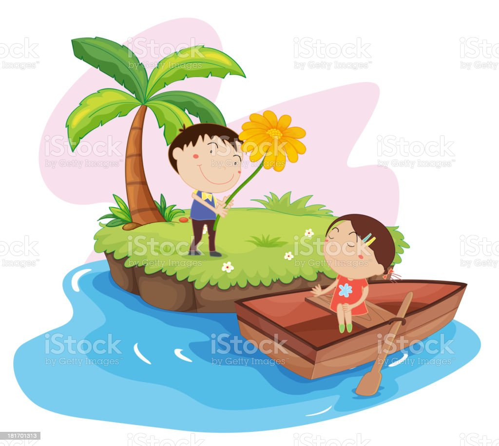Lovers on an island royalty-free stock vector art