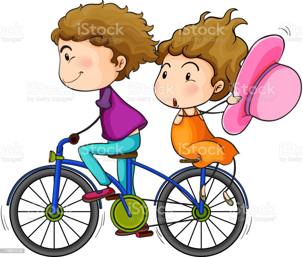 Lovers riding a bike royalty-free stock vector art