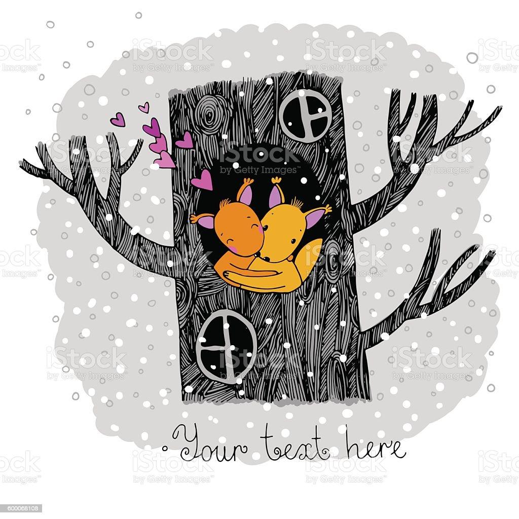 Lovers squirrel. Big beautiful tree. vector art illustration
