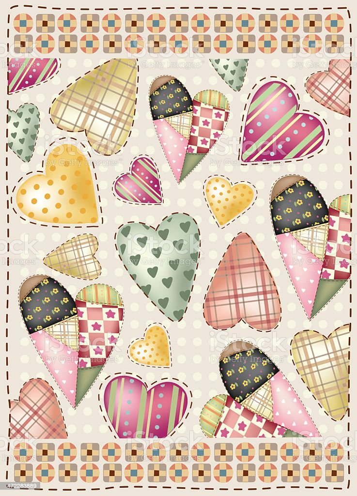 loves in fabric patchwork vector art illustration