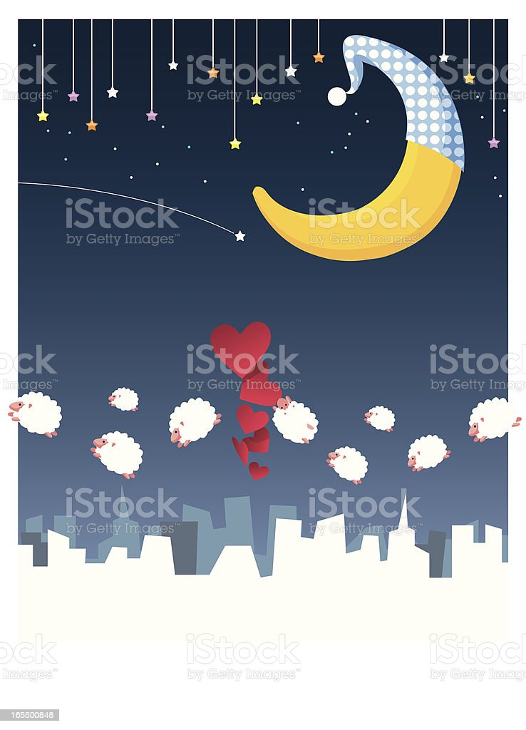 loves in sleepless night royalty-free stock vector art
