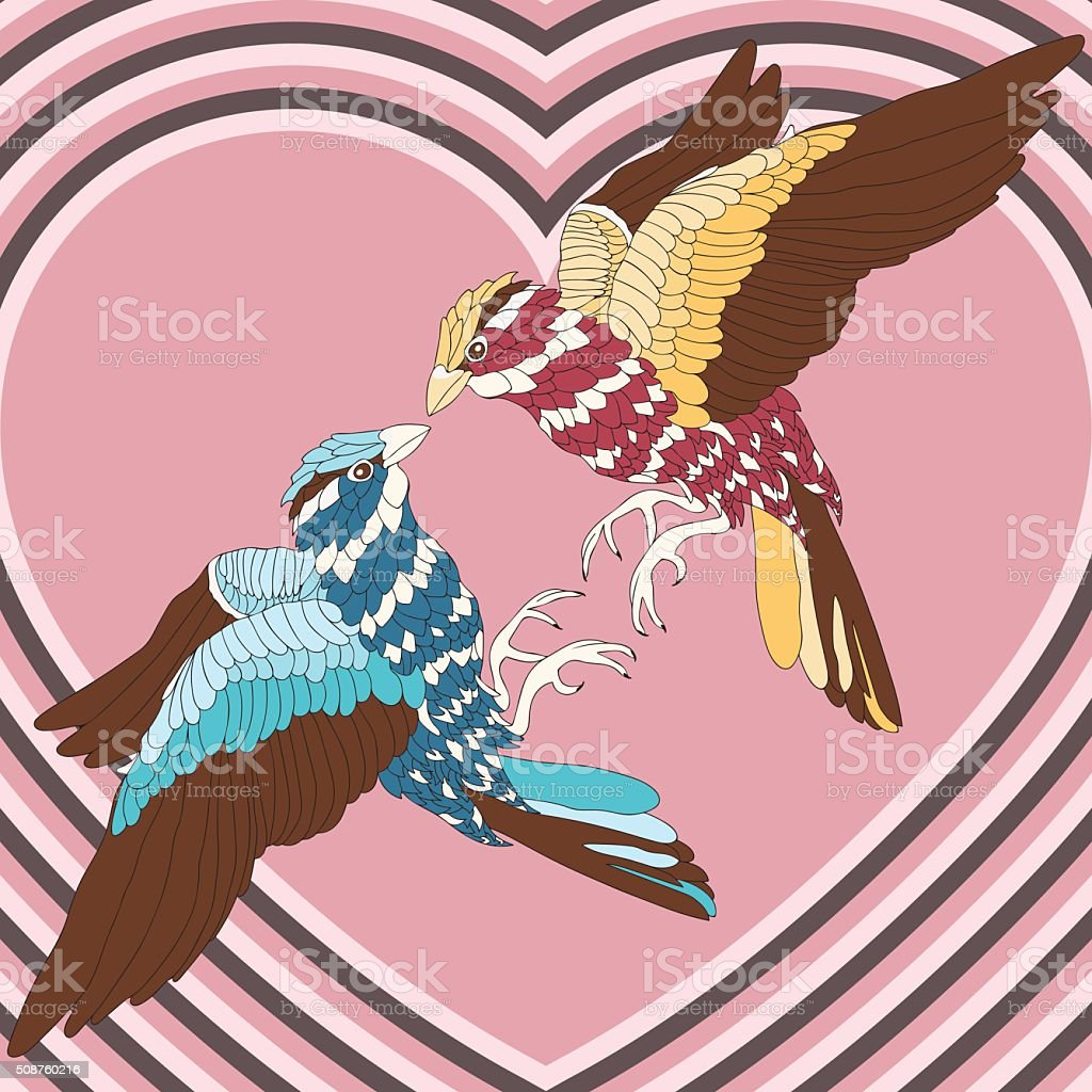 Loving bird with colorful feathers on the background of hearts royalty-free stock vector art