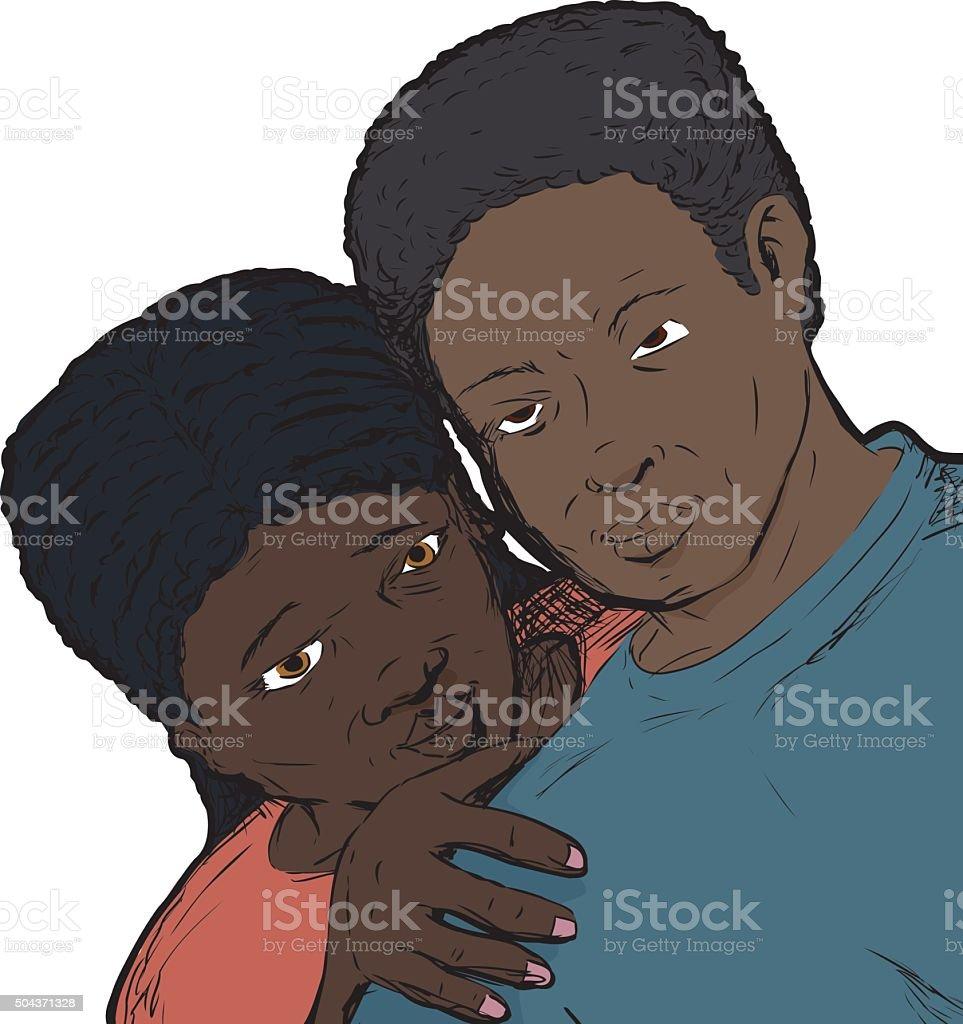 Loving Black Couple vector art illustration