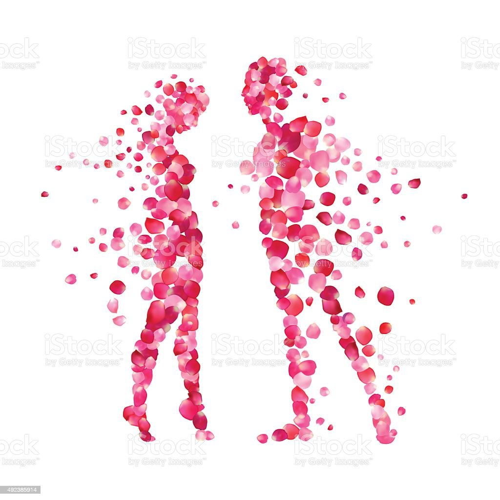 loving couple silhouettes of rose petals vector art illustration