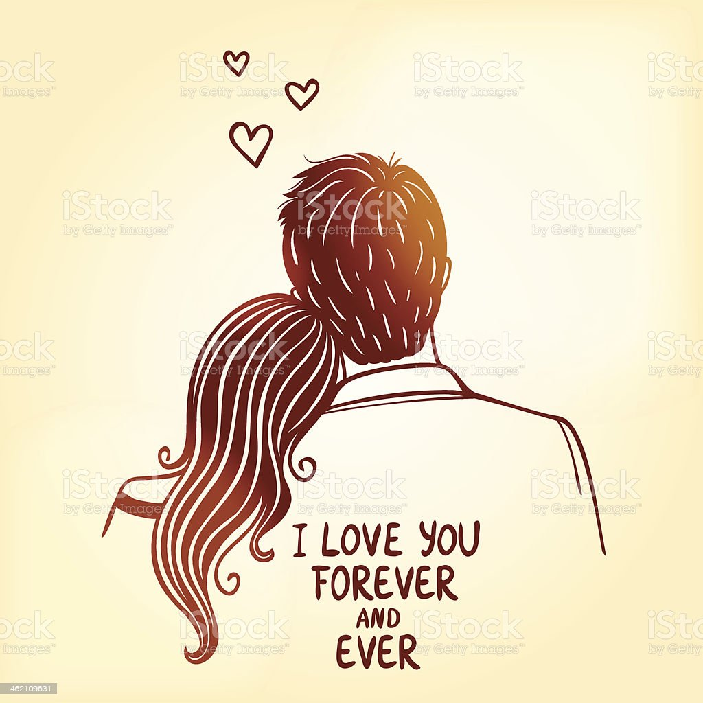 loving couple vector art illustration