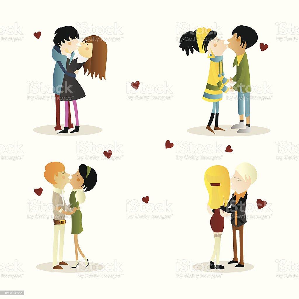 Loving couples kissing royalty-free stock vector art