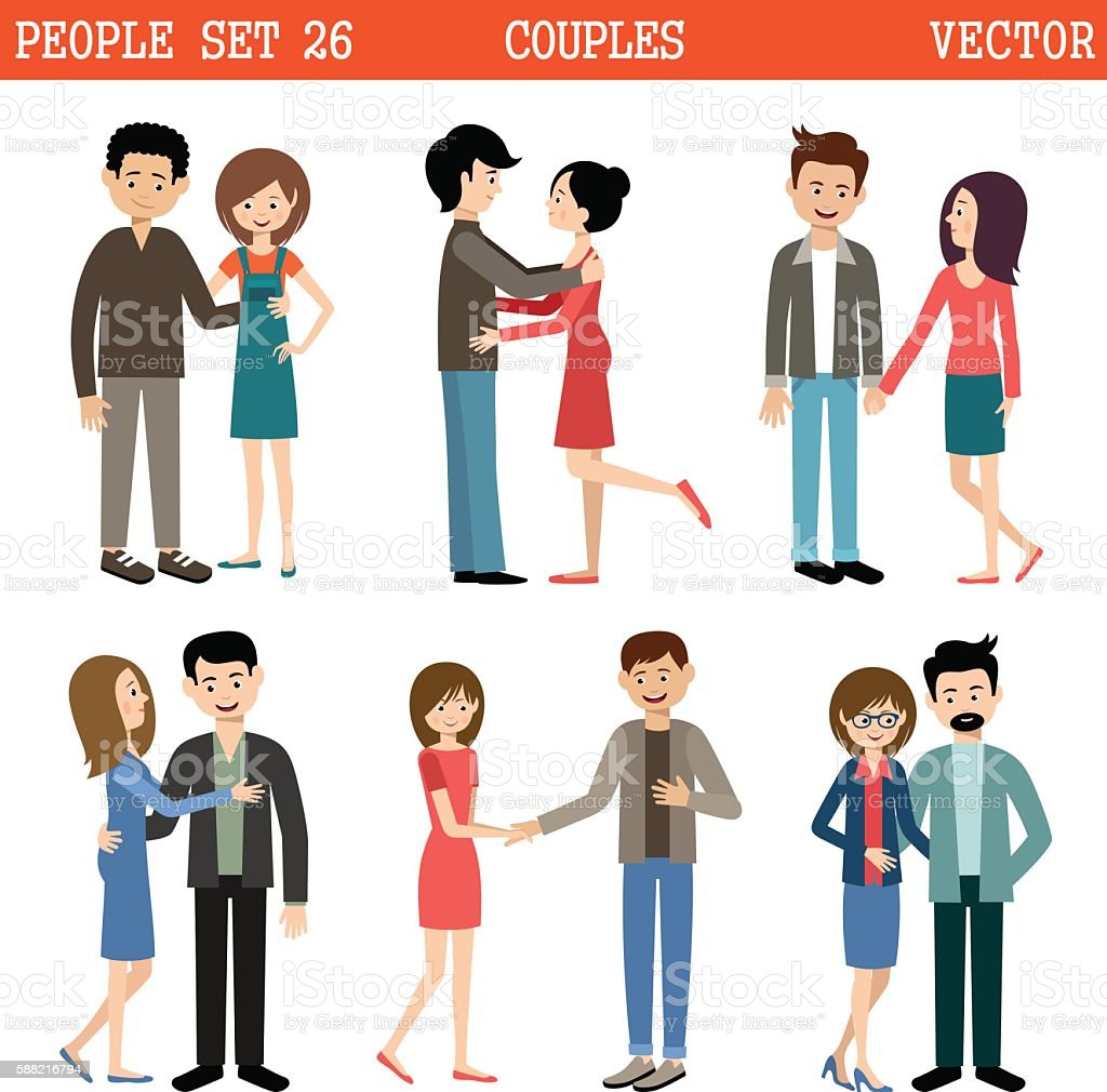 Loving couples. Men and women. Vector vector art illustration